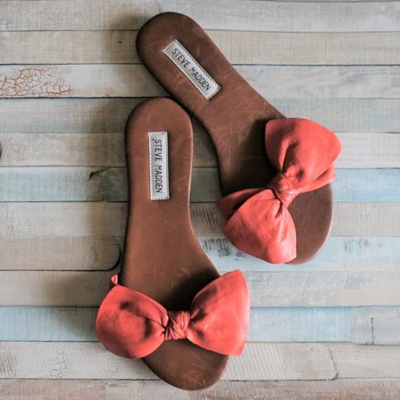 Steve Madden Shoes - Steve Madden Leather Red Brown Bow Knot Slides 7